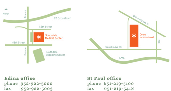 Acupuncture Health Center Edina Office and St Paul Office Map